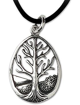 Amulett Baum des Lebens Keltischer 925er Silber Anhänger Schmuck mit Lederband Schmucksäckchen und Karte - Heilung...
