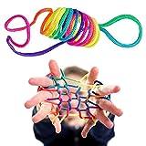 LAKIND Jeu de Ficelle Doigts,5 Pièces Rainbow Rope, Corde à Doigts, Cats Cradle Corde,Jeu d'adresse, Jeu élastique Enfant Doigt ,Petit Cadeau (Multicolore-5pcs)