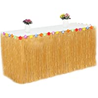 Librao Fringe Table Skirt Hawaiian Tropical Table Cover Skirts for BBQ Garden Beach Summer Party Wedding Decorations 276CM*75CM