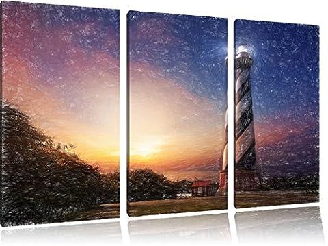 Cape Hatteras Leuchttum Kunst Buntstift Effekt 3-Teiler Leinwandbild 120x80 Bild auf Leinwand, XXL riesige Bilder fertig gerahmt mit Keilrahmen, Kunstdruck auf Wandbild mit Rahmen, gänstiger als Gemälde oder Ölbild, kein Poster oder Plakat