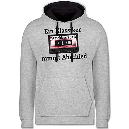 Abi & Abschluss - Abschluss 2018 Ein Klassiker nimmt Abschied - Kontrast Hoodie Grau meliert/Dunkelblau
