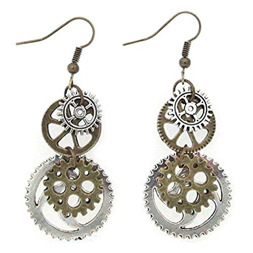 Arteki Cogwheel Vintage Bronze Steampunk Cogwheel Wristwatch Gear Earrings Goth Punk Dangle Earrings Jewerly