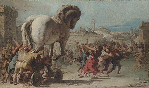 Das Museum Outlet-Giovanni Domenico Tiepolo-Die Prozession der Trojanisches Pferd in Troy-Poster Print Online kaufen (101,6x 127cm) - Troy Home-office