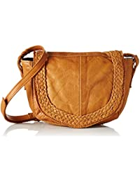 PIECES Pcmonica Leather Cross Body, Sac porté épaule femme, Braun (Cognac), 14x30x35 cm (L x H P)
