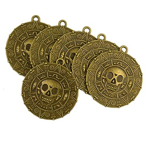 raten Aztekischer Münze Medaillon Schädel Halskette Bronze (Piraten Halloween)