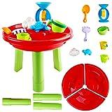 deAO Mesa para Agua y Arena Mesita de Juegos y Actividades Infantiles al Exterior Incluye Accesorios y Moldes