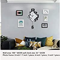 JYKING Clock Personality Digital Clock Fashion Living Room Wall Clock Wood Creative Decoration Hanging Table Quartz Wall Clock black 63 * 34CM+Photo frame
