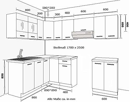 Eckküche Küche Dave 170×250 cm Küchenzeile Küchenblock Winkelküche Sonoma Eiche
