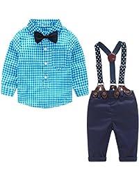 domybest 4pcs niños bebé Niños Pajarita Camisa De Cuadros + Suspender Pantalones Mono Gentleman ropa trajes (0–24meses)