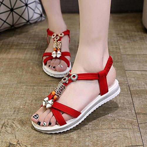 Sommer Casual Schuhe Sandalen Low - Heeled Zipper Exposed Toe Fashion Beach Schuhe Non - Slip Schuhe Red