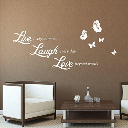 greenluup Adesivo In Bianco Con Scritta Live Laugh Love Wall Sticker adesivi da parete proverbi - Campione Cina