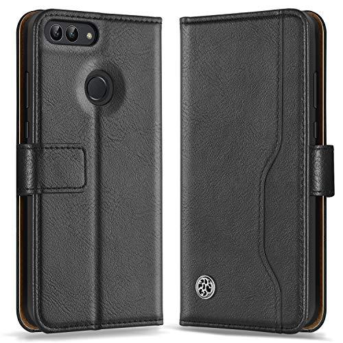 ykooe Handyhülle für Huawei P Smart Hülle PU Leder Handy Brieftasche Schutzhülle Tasche Flip Case – Schwarz [5,6 Zoll]