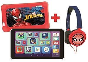 LEXIBOOK LexiTab Master Bundle Marvel - Tablet Infantil de 7 Pulgadas, Aplicaciones educativas, Control Parental y protección + Auriculares estéreo Spider-Man-Android, Wi-Fi, Google Play, MFC149FRZ