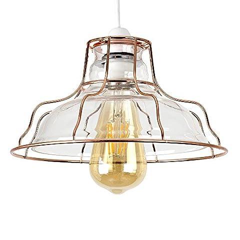 Retro Style Clear Glass & Copper Metal Cage Basket Design