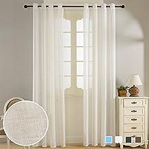 Top Finel cortina translucida de paneles para sala de estar,cocina.dormitorio,con imitacion de lino,140 cm anchura por 215 cm longitudcon ojales,con ojales 2 paneles,1 par,blanca