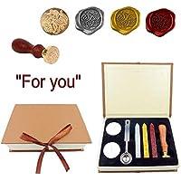 JZK® Kit de sellado de cera: sello + sello cera Palos + Luces de té + cuchara + caja de regalo, Vintage retro Conjunto de sellado para invitación /carta / envolver /tarjeta de felicitación,Etc