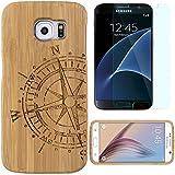 Semoss 2 en 1 Accessoires Set Nature Boussole Coque Bambou Bois Etui pour Samsung Galaxy S7 Fabriqué à la Main Bamboo Housse en Protection Hardcase Bumper Cover Rigida avec Protecteur d'ecran