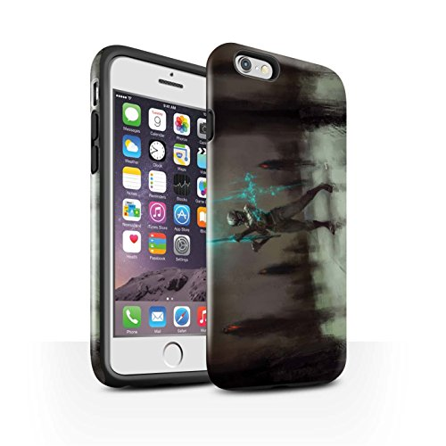 Offiziell Chris Cold Hülle / Glanz Harten Stoßfest Case für Apple iPhone 6S / Rotes Band-Engel Muster / Unterwelt Kollektion Schatten Ritter