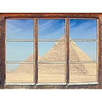 Egitto Meraviglie Piramidi di Giza, la finestra adesivi murali 3D Formato: Decorazione della parete 92x62cm 3D adesivi da parete decalcomanie