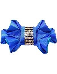 AI Handmade Fashion Jewellery Blue Satin Ribbon Hair Clip On For Women/Girls(AI6)