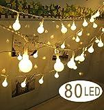 Lumières de décoration de Noël 10M 80 Guirlande lumineuses led lampe exterieure decorative sphérique lampe boule de jardin de la maison pour la fête de mariage (10M) (Urgent) (10M led Guirlande)