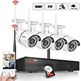 ANRAN Wireless Security Camera System, 4CH 1080P Video Surveillance System, 4pcs 2.0MP WIFI Bullet IP Cameras Waterproof Outdoor Plug Play Support Motion Detection Alarm & Remote View, 1TB Hard Drive