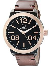 Joshua & Sons Reloj de hombre de cuarzo con Negro esfera analógica pantalla y correa de piel color marrón jx103rgbr
