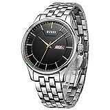 BUREI Herrenuhr Tag Datum Edelstahl Armbanduhr mit schwarzem Zifferblatt und Armbanduhr Link Entferner Großes Zifferblatt (Roségold)