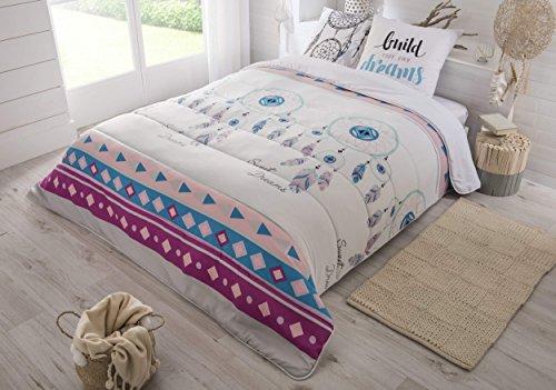 Edredón con colorido motivo de atrapasueños, de 220x 240cm, gama muy cálida (550g/m²) y tacto de piel de melocotón