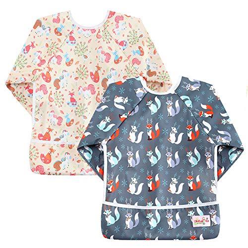OhBabyKa: Wasserdichtes Lätzchen für Babys, mit Ärmeln und Tasche, für Babys im Alter von 6-24Monaten