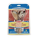 Melissa & Doug Let's Play House! Stir & Serve Cooking Utensils (Dishwasher Safe, Sturdy Stainless Steel and Wooden Construction, 7-Pieces)