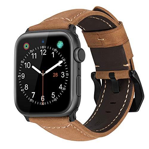 MroTech kompatibel für iWatch 42mm Armband 44mm Watch Band Wildleder Lederarmband Echtleder Uhrenarmband Ersatz kompatibel für iWatch Sport Edition Nike+ Series 4/3 / 2/1 42 mm 44 mm-Brown