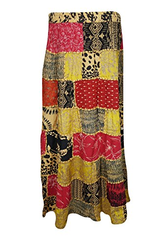 Boho Chic Designs -  Gonna  - linea ad a - Donna Yellow, Red