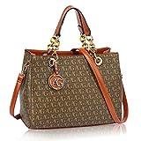 LeahWard Damen Designer Taschen Große Kunstleder Handtaschen Umhängetasche für ihre Schule 536 (BRAUN Tote)