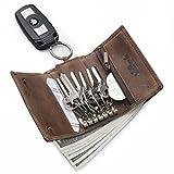 TEEMZONE-Mini Geldtasche-Schlüsseletui-RFID SCHUTZ-Braun-Damen-Herren-Leder-Schlüsseltasche im Used-Look (KLEIN)