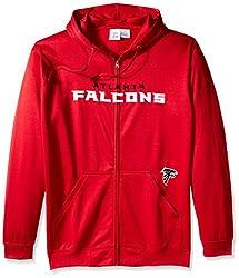 NFL Atlanta Falcons Men's Full Zip Poly HD Sweatshirt, 3X/Tall, Red