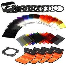 K&F Concept® 40 Stück Quadratisch Objektiv Filterset Farbfilter Set Verlaufsfilter Set(9er Verlaufsfilter+8er Farbfilter+7er ND Filter Set+ 9er Objektiv Filteradapter Ringe+Gegenlichtblende+4er Filtertaschen+2er Quadratisch Filterhalter)
