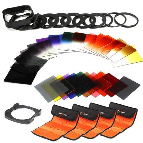 K&F Concept® 40 Stück Quadratisch Objektiv Filterset Farbfilter Set Verlaufsfilter Set(9er Verlaufsfilter+8er Farbfilter+7er ND Filter Set(Graifilter Set)+ 9er Objektiv Filteradapter Ringe+Gegenlichtblende+4er Filtertaschen+2er Quadratisch Filterhalter)
