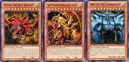 YuGiOh Mosaic Rare God Cards Set of 3 Egyptian God Cards Slifer, Obelisk Ra BP02-EN125, BP02-EN126 & BP02-EN127 by Konami