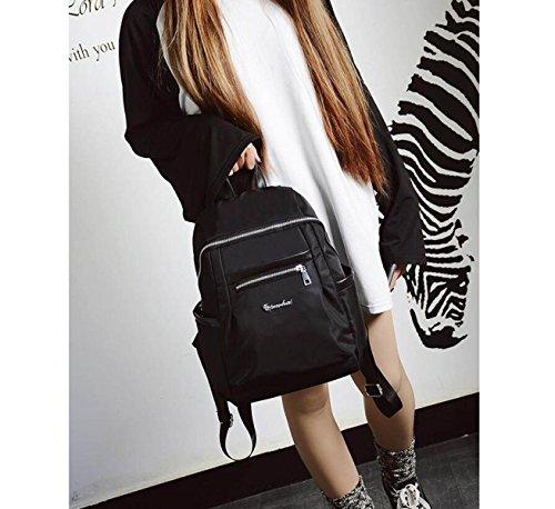 Frau Fashion Umhängetasche Nylon-Rucksack Freizeit-Reisetasche black