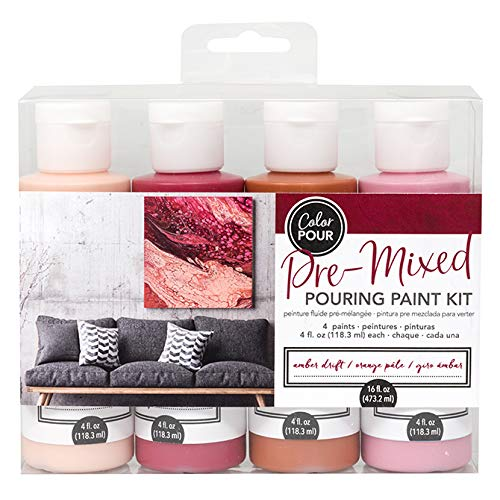 American Crafts Color Pour Pre-Mixed Paint Kit 4/Pkg-Amber Drift