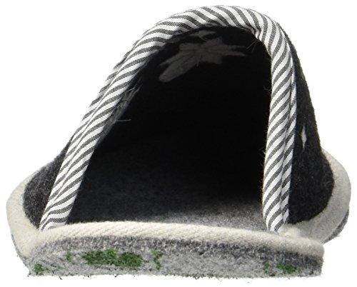 Adelheid - Cooler Typ Filzpantoffel, Pantofole Uomo Schwarz (Rabenschwarz)