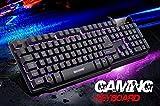 Masione® wasserdichte Multi-Color Multimedia Halb Mechanische USB mit Kabel Gaming-Tastatur mit LED Hintergrundbeleuchtung (7 einstellbare Leucht Heiligenschein Atmung Licht, Pro Gaming orientierte Tastatur mit deutsches Tastaturlayout)