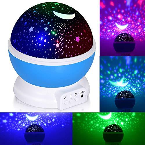 Adoric 360 Grad Rotation 3 Modus Licht Projektor Romantik Cosmos Mond Himmel Projektor Nachtlicht Schlafzimmer für Kinder, Babys, Weihnachtsgeschenke, USB-Liebhaber/Powered.d Batterie