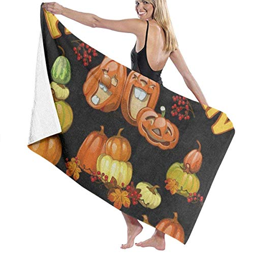 te de bain, Halloween Holiday Party Pumpkin Personalized Custom Women Men Quick Dry Lightweight Beach & Bath Blanket Great for Beach Trips, Pool, Swimming and Camping 31