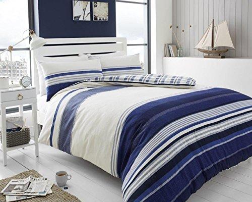 Fischgrätenmuster gestreift 100% gebürsteter Baumwolle Thermo-Biber-Bettwäsche Bettbezug mit Kissenbezug Bettwäsche-Set, Herringbone Stripe- Navy Blue, King Size (King-size-schlafzimmer-set Blue)