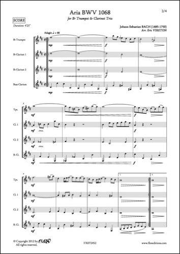 PARTITION CLASSIQUE - Aria BWV 1068 - J. S. BACH - Trompette et Trio de Clarinettes