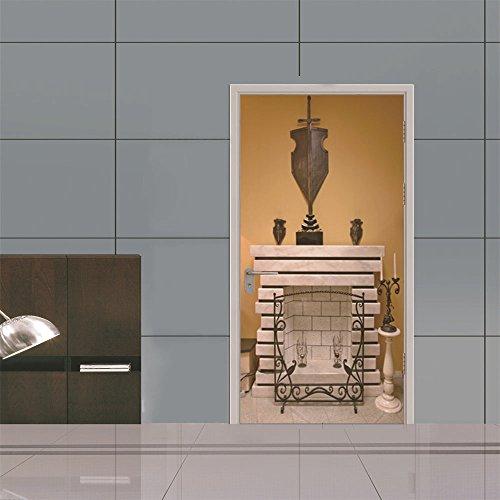 YMRAAN Creativo 3D Pegatinas De Puerta Chimenea Bricolaje Decorativo Adhesivo De Pared Sala De Estar...