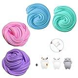 TIME4DEALS Fluffy Slime Grande Kit Slum Jumbo Floam 4-Pack per Bambini Adolescenti Adulti per Il Sollievo dallo Stress, Esercizi di Mani e Dita (3 Pezzi di Giocattolo Squishy Cat Incluso)