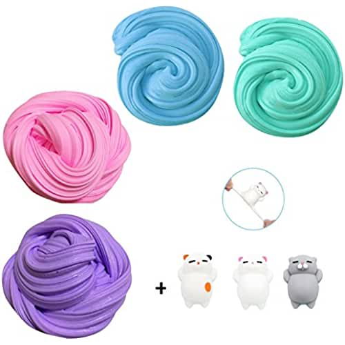 mini kawaii miniaturas kawaii Fluffy Slime Kit, TIME4DEALS 4-Pack Jumbo Floam Slime Kit para Niños Adolescentes Adultos para el alivio del estrés, ideal para ejercicios de mano y dedos (3pcs Squishy gatos incluir)